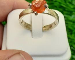 Natural Spessartite Garnate 925 Silver Ring