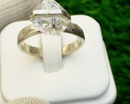 Herkimer Diamond Quartz 925 Silver Ring