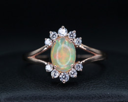 Natural Fire Opal, CZ & 925 Silver Ring