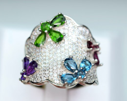 Natural Multi color stones , CZ 925 Silver Nice Design Ring