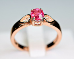 Natural Burmese Top Red Spinel ,CZ 925 Silver Ring