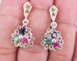 Natural Emerald Ruby And Sapphire Earrings
