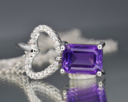 Natural Amethyst , CZ  and 925 Silver Pendant with Chain