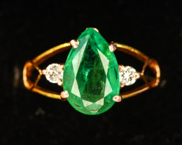 39.60 Ct 18 K Gold Ring ~With AAA Clarity Afghan Emerald Stone & Diamonds