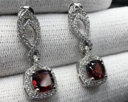 Natural Rhodolite Garnet,  CZ & 925 Sterling  Silver Earring