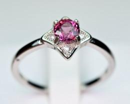 Natural Burmese Top Red Spinel ,CZ 925 Silver Ring #SP1