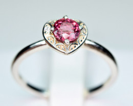 Natural Burmese Top Red Spinel ,CZ 925 Silver Ring#SP3