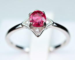 Natural Burmese Top Red Spinel ,CZ 925 Silver Ring#SP2
