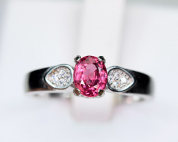Natural Burmese Top Red Spinel ,CZ 925 Silver Ring#SP5