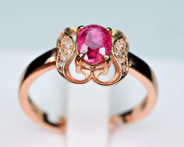 Natural Burmese Top Red Spinel ,CZ 925 Silver Ring#SP6