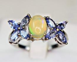 Natural Multi Fire Opal,Tanzanite 925 Silver Ring( TZ1)
