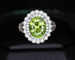 Natural Peridot, CZ & 925 Sterling  Silver Fancy Ring