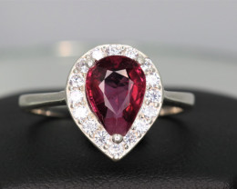 Natural Pink Tourmaline, CZ & 925 Sterling  Silver Ring Custom Design