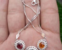 Natural Sphene Spessartite  Rhodolite Garnet 925 Silver Bracelet