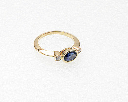 Blue Sapphire & Diamond Ring, 14k Yellow Gold, East West Stack Design, Sept