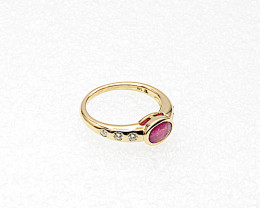Ruby & Diamond Ring, 14k Yellow Gold, East West Stack Design, July Birthsto