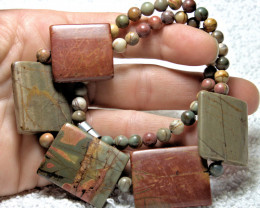 336.5 Total Carat Weight Natural Picasso Jasper Beaded Necklace - Beautiful