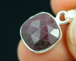 Faceted Ruby Sterling Silver pendant   code CCC 2134