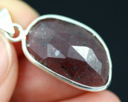 Faceted Ruby Sterling Silver pendant   code CCC 2129