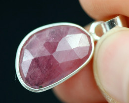 Faceted Ruby Sterling Silver pendant   code CCC 2132