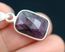 Faceted Ruby Sterling Silver pendant   code CCC 2138