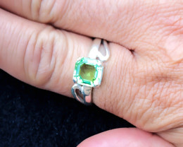 19.70 Ct Natural Green Transparent Tourmaline Ring Solid Silver