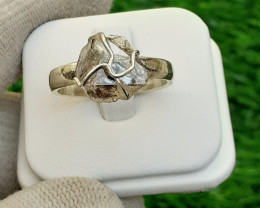 Natural Herkimer Daimond Quartz 925 silver Ring