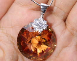 NATURAL CRYSTAL SILVER PENDENT
