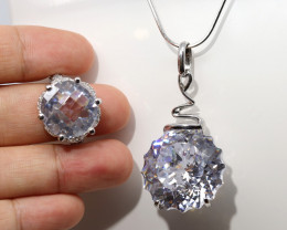 NATURAL CRYSTAL SILVER PENDENT  AND RING