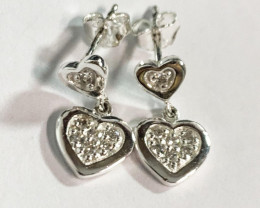 Modern Heart-in-Heart Style Sterling Silver 925 Earring
