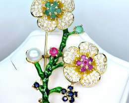 Natural Emerald,diffusion sapphires ,Glassfilled ruby925 Silver Brooche
