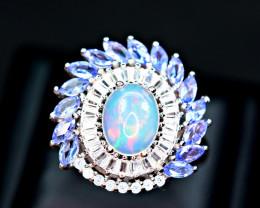Natural Multi Fire Opal ,Tanzanite ,CZ 925 Silver Ring
