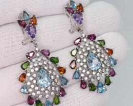 Natural Multi Stone, CZ & 925 Sterling  Silver Fancy Earring