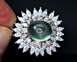 Natural Green Prehnite ,CZ Nice 925 Silver Pendant (#PR1)