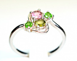 Natural Worthy Multi color Natural stones,CZ 925 Silver Ring