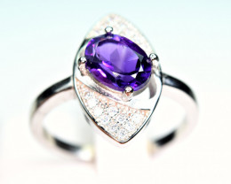 Natural Amethyst With CZ 925 Silver Ring