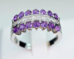 Natural  Nice Design Amethyst,CZ 925 Silver Ring