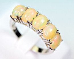Natural Multi Fire several Opal Cabochon 925 Silver Ring