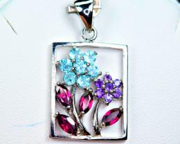 Natural Multi Color Stones amazing shape 925 Silver top Pendant(PT1i)