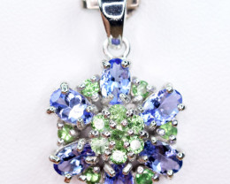 Natural Tanzanite,Chrome Diopside  amazing shape 925 Silver top Pendant