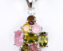 Natural Multi Color Stones amazing shape 925 Silver top Pendant