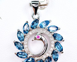Natural several london blue Topaz ,CZ Nice 925 Silver Pendant