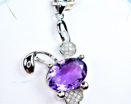 Natural  Very Nice Design Amethyst With CZ Nice 925 Silver Pendant