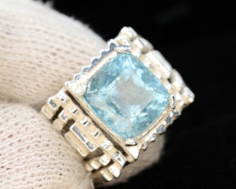 Hand Made 41.0 Ct Silver Ring ~ With Natural Aquamarine Stone