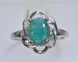 12.66 Crt  Natural Emerald 925 Silver Ring