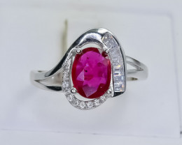17.24 Crt Natural Ruby 925 Silver Ring