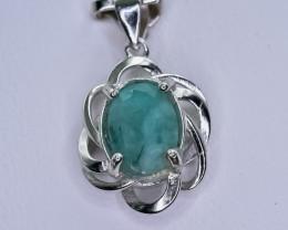 9.57 Crt Natural Emerald 925 Silver Pendant