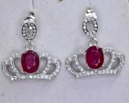 28.79 Crt Natural Ruby 925 Silver Earrings