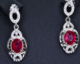 15.66 Crt Natural Ruby 925 Silver Earrings