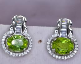 36.20 Crt Natural Peridot  925 Silver Earrings